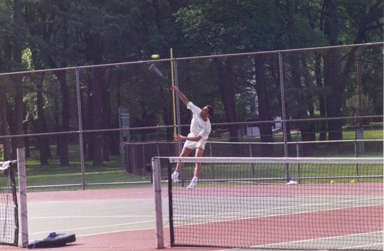 Playing third singles for Needham High School, 1995